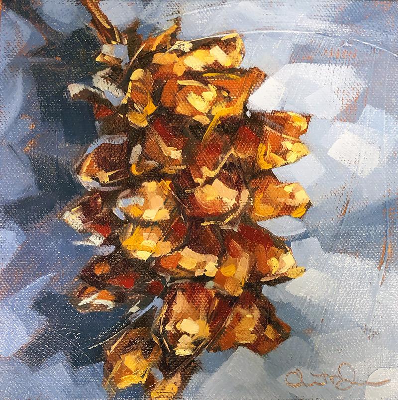 """Christina Johnson """"A Breath in Autumn"""" 6x6 oil $125. SOLD"""