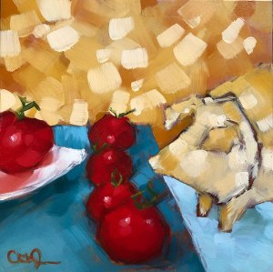 "Christina Johnson ""Crossing Party Lines"" 8x8 oil $150."
