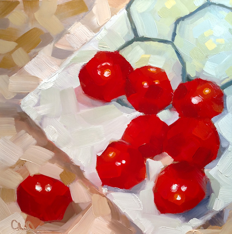 "Christina Johnson ""Cucumber Tomato Toss II"" 8x8 oil $150."