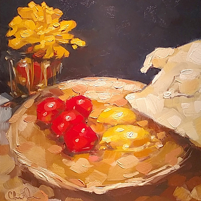 "Christina Johnson ""Golden Galaxy: Bad Table Manners"" 8x8 oil $150."
