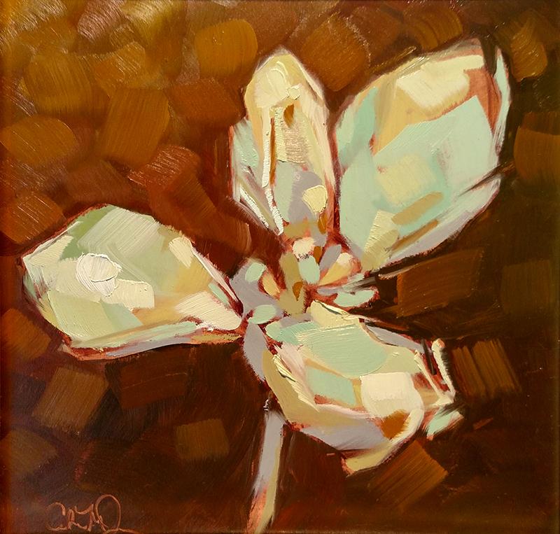 """Christina Johnson """"Golden Succulents I"""" 8x8 oil $150."""