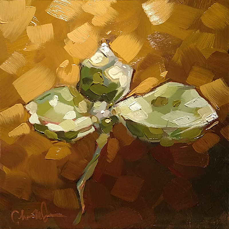 "Christina Johnson ""Golden Succulents II"" 8x8 oil $150."