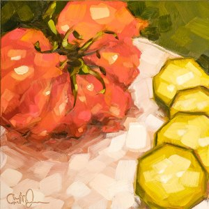 "Christina Johnson ""Heirloom Slices"" 8x8 oil $150."