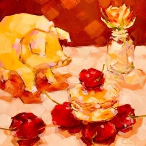 """Christina Johnson """"Little Piggy's Cherry Macaron'"""" 8x8 oil $150."""