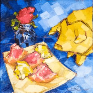 """Christina Johnson """"Queen Mossandra's Approaches the Dragon's Sentry"""" 6x6 oil $100. SOLD"""