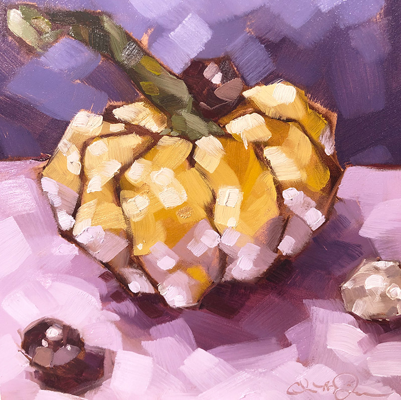 """Christina Johnson """"Pumpkin Glam"""" 6x6 oil $150."""