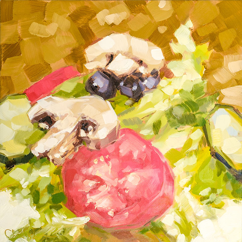 "Christina Johnson ""Salad at Brickhouse"" 8x8 oil $150."