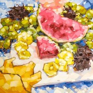 "Christina Johnson ""Watermelon Wilds"" 12x12 oil $250."