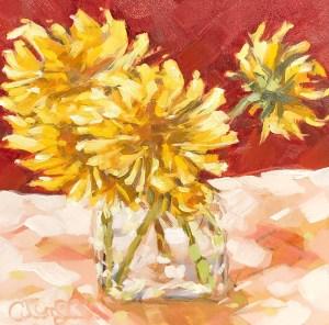 "Christina Johnson ""Spring Sunshine"" 6x6 oil $125."