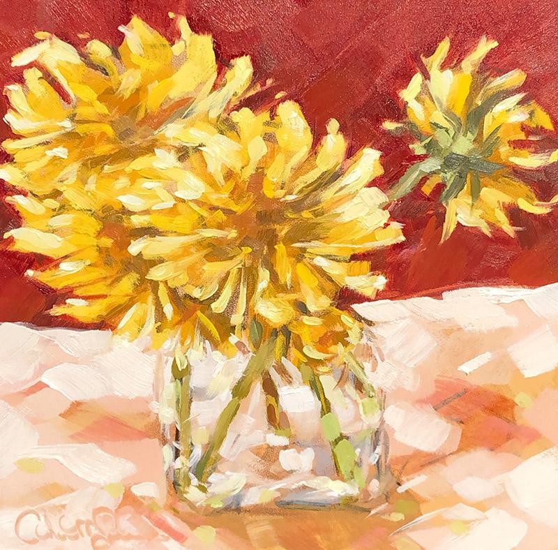 "Christina Johnson ""Spring Sunshine"" 6x6 oil $125. SOLD"