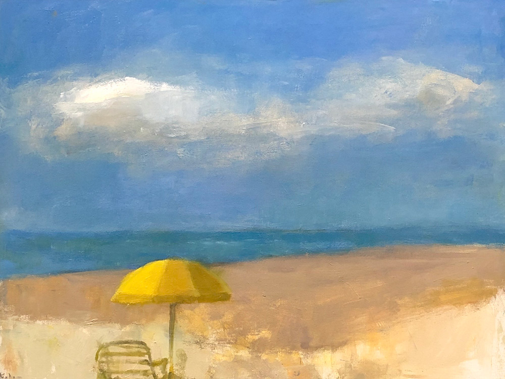 "Ileen Kaplan ""Beach Day with Yellow Umbrella"" 18x24 oil $1,075."