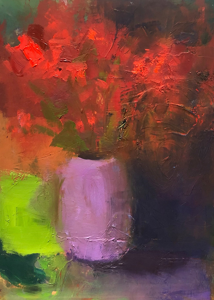 "Ileen Kaplan ""Flowers in a Purple Vase"" 7x5 oil $295."