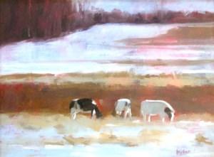 """Ileen Kaplan """"Cows in Winter Light"""" 12x16 oil $700."""