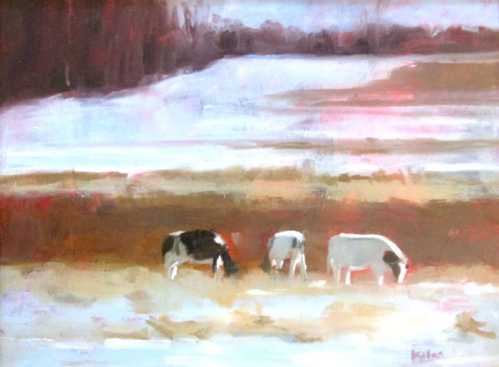 "Ileen Kaplan ""Cows in Winter Light"" 12x16 oil $700."