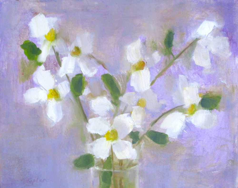 "Ileen Kaplan ""Dogwood Blossoms"" 8x10 oil $400."
