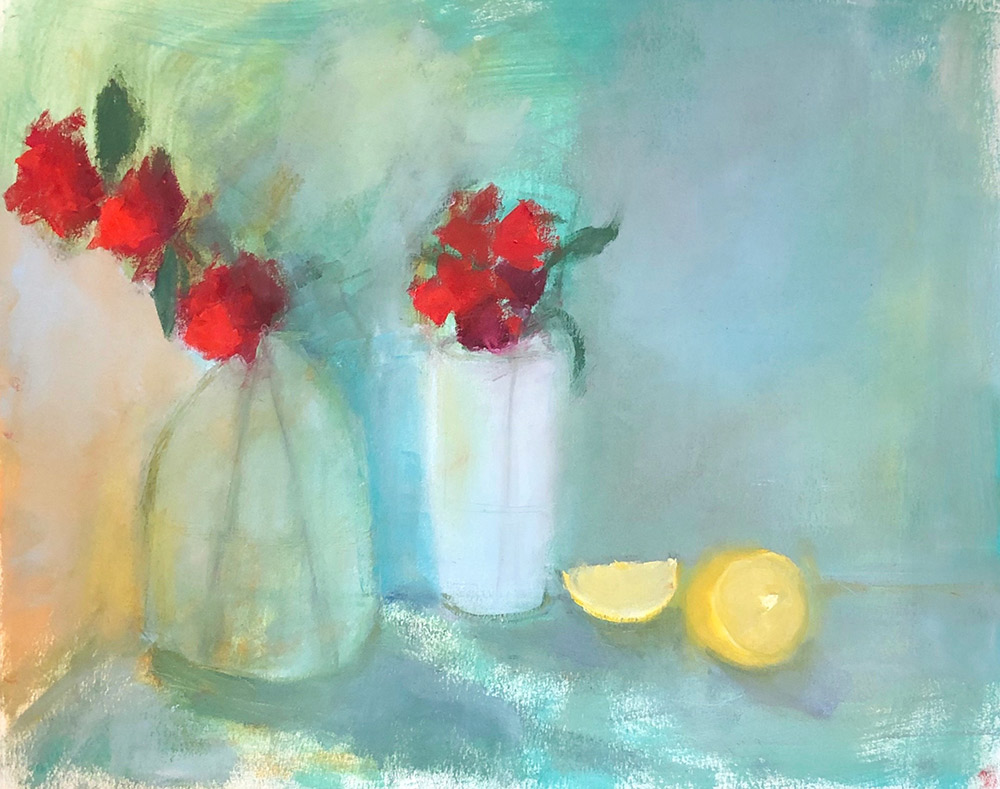"Ileen Kaplan ""Flowers and Lemons"" 16x20 oil $900."