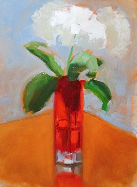 "Ileen Kaplan ""Hydrangeas in a Red Glass Vase"" 12x9 oil $425. INQUIRE"