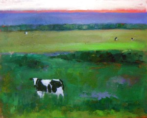 "Illeen Kaplan ""Illuminated Cow"" Oil Painting"