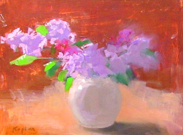 """Ileen Kaplan """"Lilacs in a Round Vase"""" 9x12 oil $425. INQUIRE"""