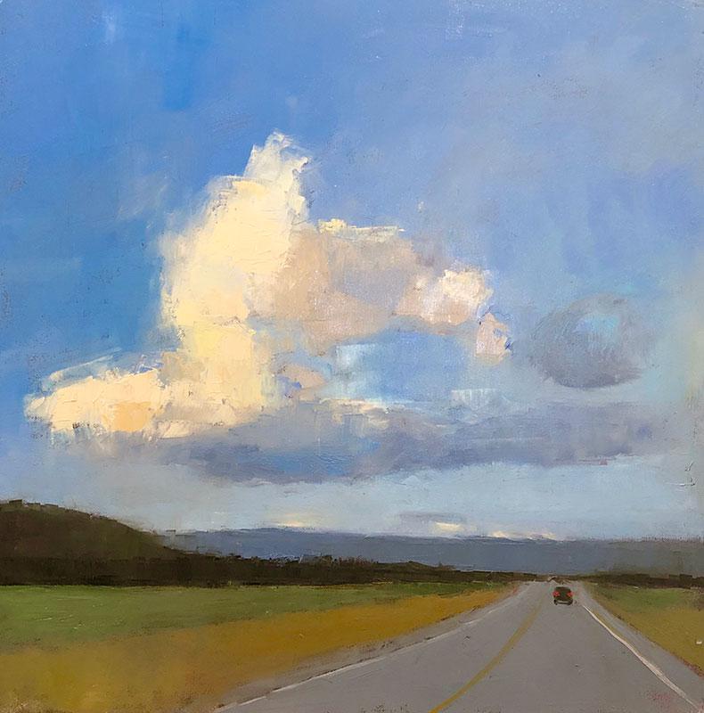 "Ileen Kaplan ""Long Road Home"" 24x24 oil $1,250. SOLD"