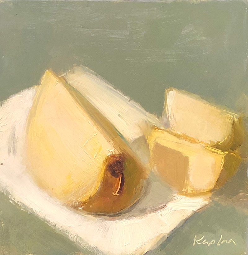 "Ileen Kaplan ""Pears in Sunlight"" 6x6 oil $295."