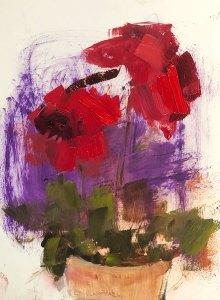 """Ileen Kaplan """"Red Bouquet"""" 8x6 oil $330."""