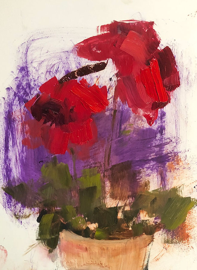 """Ileen Kaplan """"Red Bouquet"""" 8x6 oil $330. INQUIRE"""