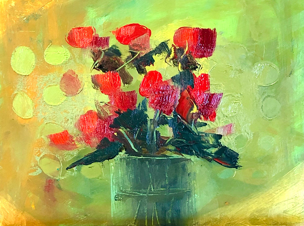 "Ileen Kaplan ""Red Flowers on Green"" 6x8 oil $325."