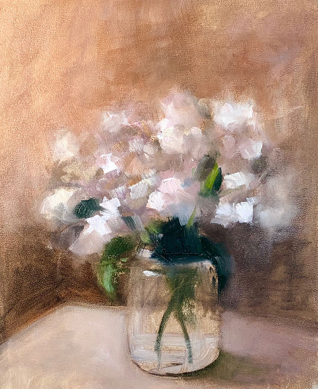 "Ileen Kaplan ""September Hydrangeas"" 10x8 oil $485."