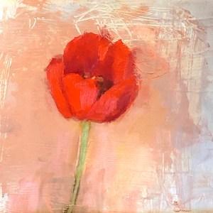"""Ileen Kaplan """"Single Red Tulip"""" 8x8 oil $395."""