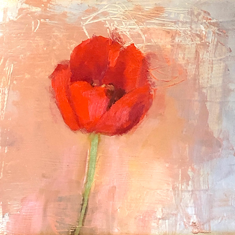 "Ileen Kaplan ""Single Red Tulip"" 8x8 oil $395."