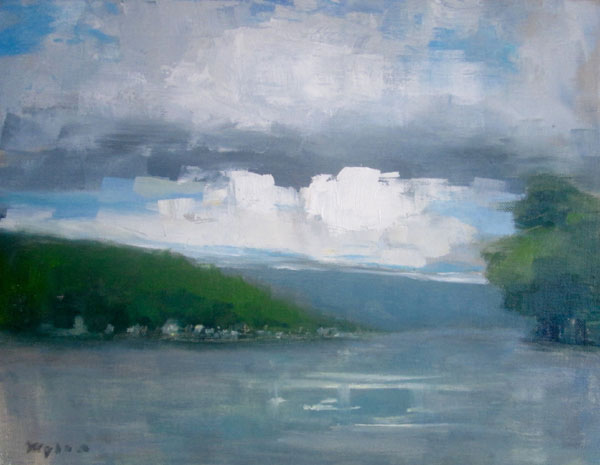 "Ileen Kaplan ""Clouds Over Keuka Lake"" 11x14 oil $550."