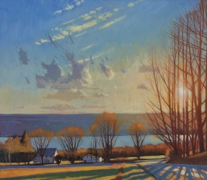 "Brian Keeler ""Covert Road, April Light Over Seneca"" 26x30 oil/linen $2,800. Inquire*"