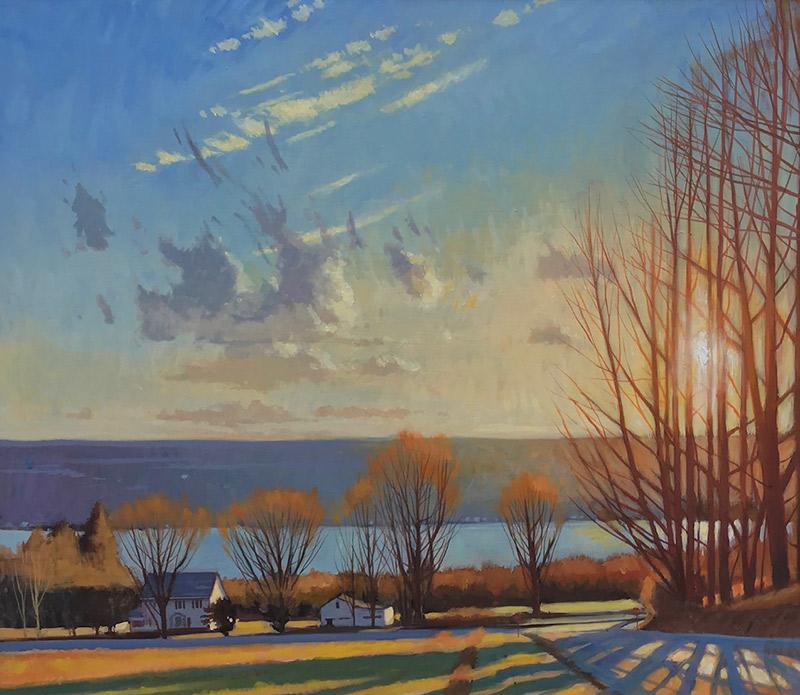 """Brian Keeler """"Covert Road, April Light Over Seneca"""" 26x30 oil/linen $2,800. Inquire*"""