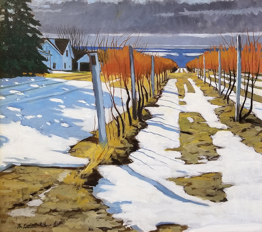 "Brian Keeler ""December Light in the Vineyard - Hector, NY"" 18x20 $1,600. SOLD"