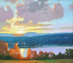 "Brian Keeler ""Keuka Evening Over Hammondsport"" 26x30 oil $2,800."