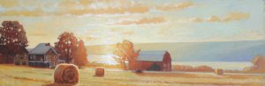 "Brian Keeler ""Keuka Sunrise"" 12x36 oil unframed $2,000."