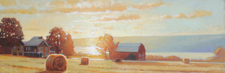 "Brian Keeler ""Keuka Sunrise"" 12x36 oil unframed $2,000."