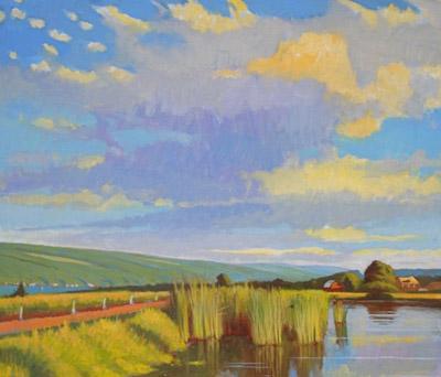 """Brian Keeler """"Over Keuka, Pond Reeds"""" 26x30 oil $2,800."""