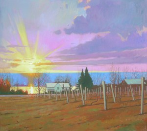 "Brian Keeler ""Vineyard View Near Watkins Glen"" 36x40 oil $5,400."