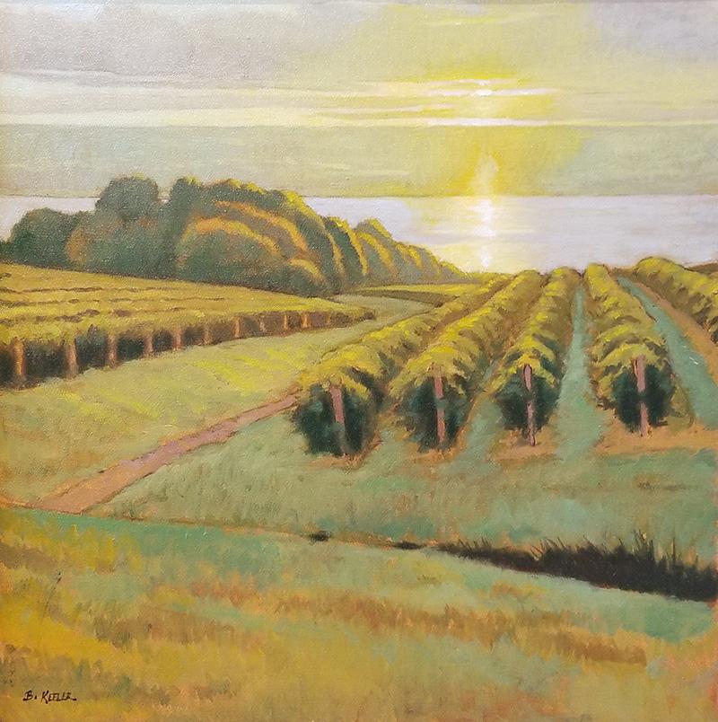 "Brian Keeler ""Seneca Vineyard Sunset"" 20x20 oil $1,600."