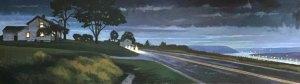 """Brian Keeler """"Spring Nocturne Over Keuka"""" 48x14 oil/linen $3,400."""