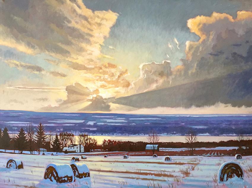 """Brian Keeler """"Winter Evening Luminous Landscape over Seneca"""" 36x48 oil unframed $8,400."""