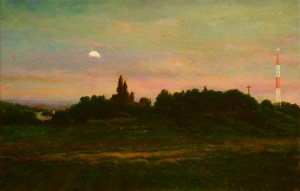 """Joseph A. Miller """"Evening and the Radio Tower I"""" 10x15 oil/canvas $1,400."""