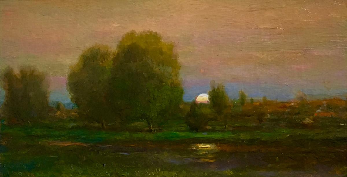 "Joseph A. Miller ""Summer Landscape"" 8x4 oil/panel $500."
