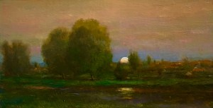 "Joseph A. Miller ""Summer Landscape"" 8x4 oil/panel $500."