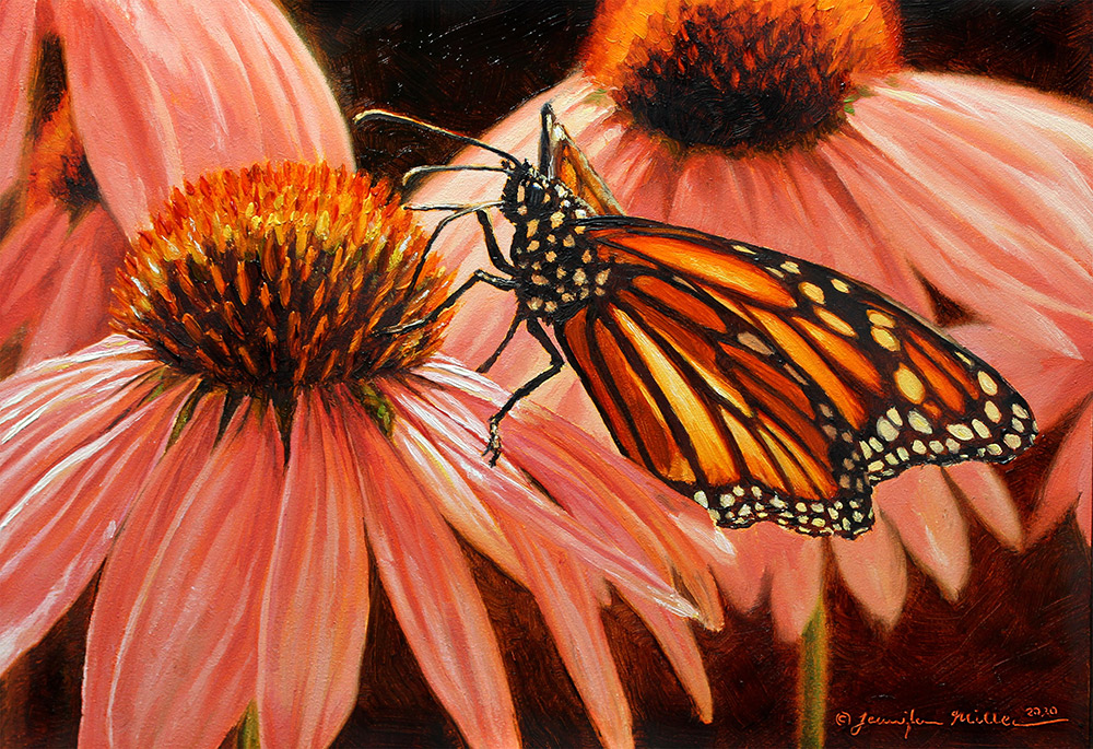 "Jennifer Miller ""Luminous Temple"" (Monarch Butterfly) 5x7 oil $375. SOLD"
