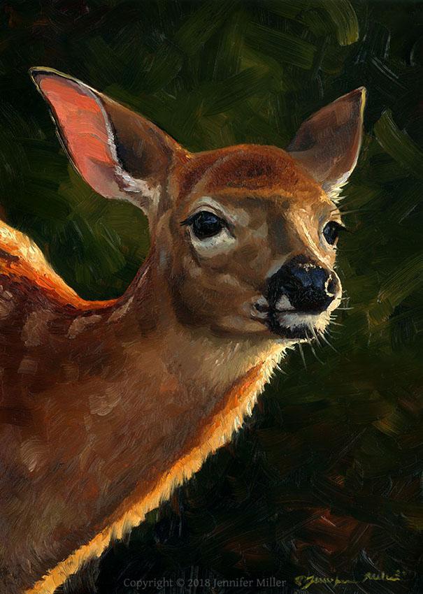 """Jennifer Miller """"New Light"""" 7x5 oil $350."""