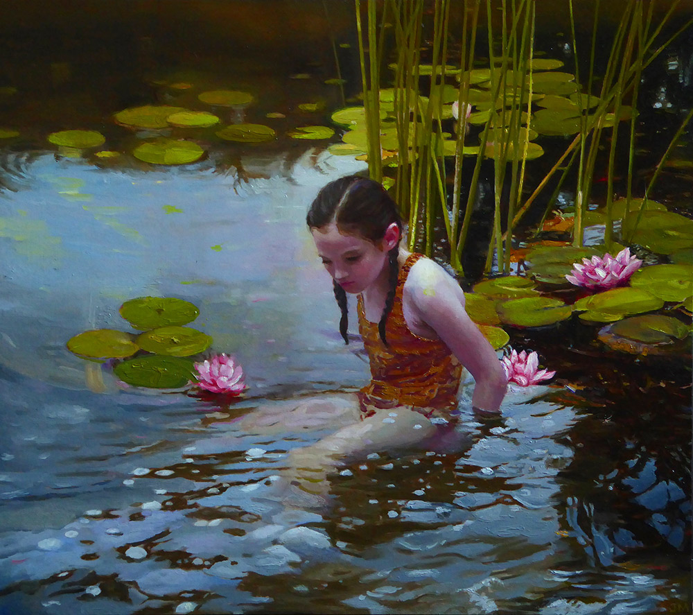 "Joseph A. Miller ""The Pond"" 13x14 oil on paper/panel $1,400."