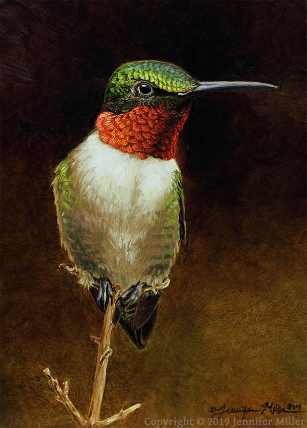 "Jennifer Miller ""Tiny Watchtower - Ruby-Throated Hummingbird"" 7x5 oil $375. Inquire"